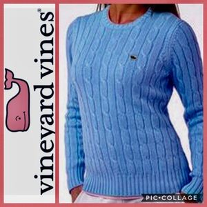 Vineyard Vines Sweater Cable Knit Blue Preppy